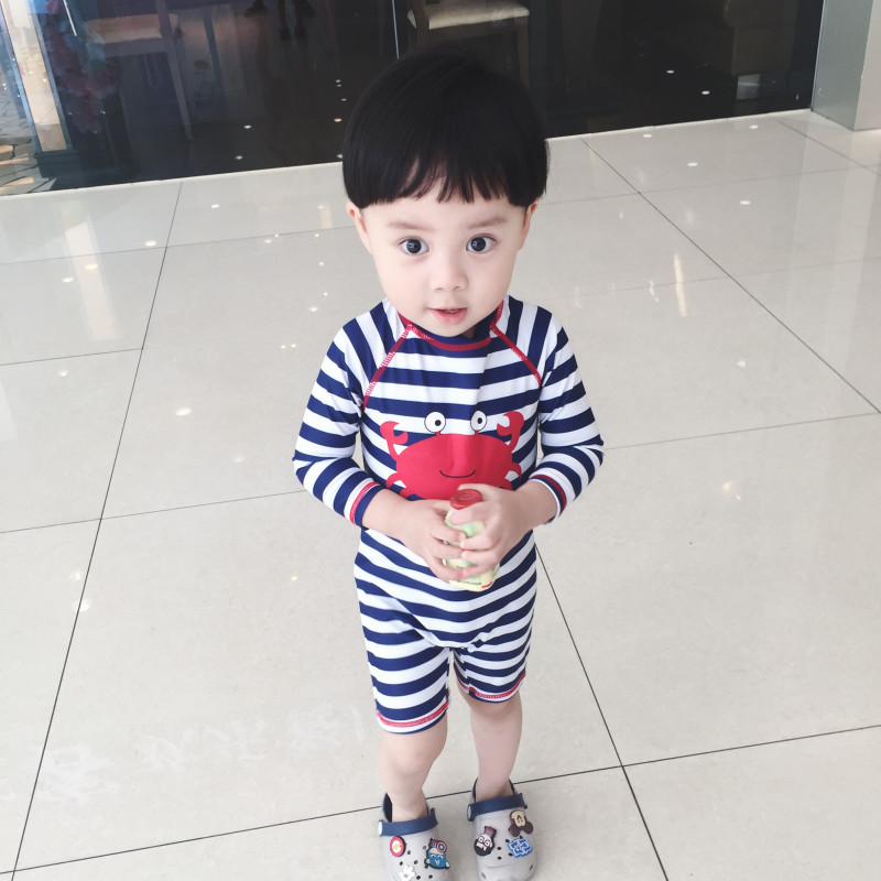 Export The United Kingdom Baby Beach Men's 19 New Style Fashion Child Cartoon Stripes Beach Boy Bathing Suit Surfing Suit Set