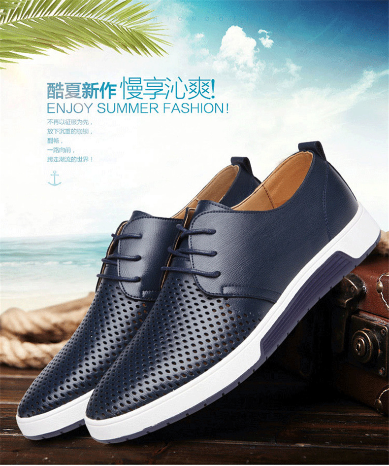 H2ef9b85ff4424b3da1c66a810f322d3cY New 2019 Men Casual Shoes Leather Summer Breathable Holes Luxurious Brand Flat Shoes for Men Drop Shipping
