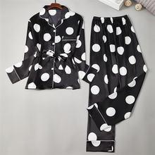 Кожа с нарезкой черного Сатин в горошек пижамы осенний кардиган