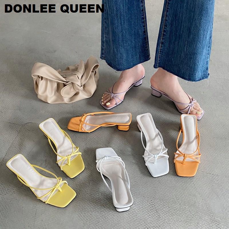 Sandalias de tacón bajo a la moda, zapatillas para mujer, chanclas deslizantes de verano, Chanclas de punta cuadrada, zapatillas para exteriores, sandalias elegantes para mujer, zapatos Zapatillas de piel