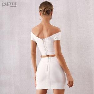 Image 5 - ADYCE 2020 Neue Sommer Frauen Bodycon Bandage Sets Kleid Vestidos 2 Zwei stück Set Top Gold V Neck Promi Abend party Kleider