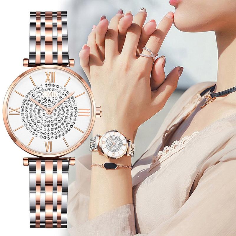 Montre Femme Modern Fashion Reloj Mujer Rhinestone Watch Women Mesh Stainless Steel Bracelet Luxury Starry Wrist Watch For Woman