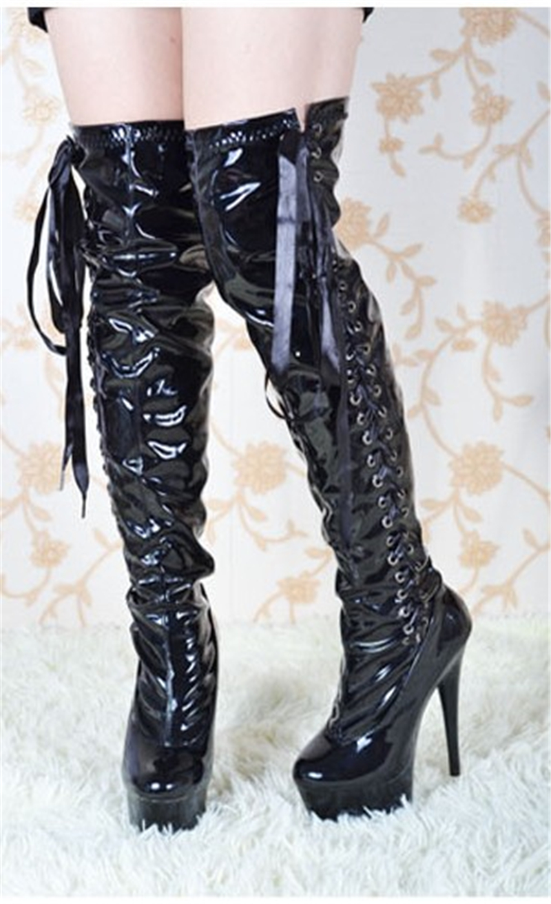 European and American Sexy Knee Boots Women's 15 cm Super High-heeled Women's Shoes Lace Waterproof Table Fine-heeled High-boots
