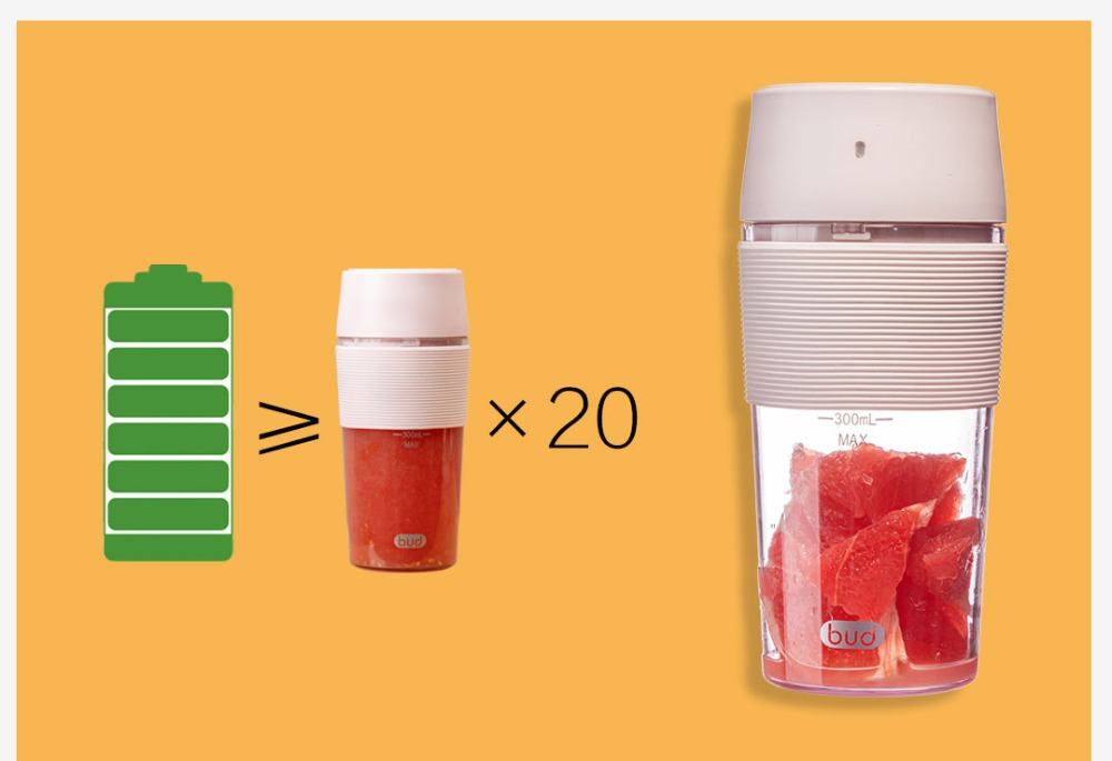 H2ef9fc16073d45738bc2e53892ce6dc7w XIAOMI MIJIA Bud BR25E Blender Portable Fruit Cup Electric Kitchen Mixer Juicer food processor Machine 300ML Magnetic charging