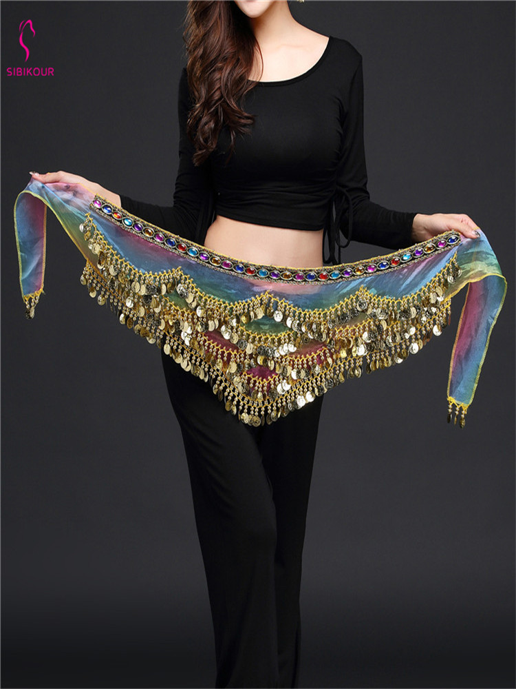 2020 Women Belly Dance Costume Belly Dance Hip Scarf Dance Accessories Coins Belt Crystal Belly Dancing Waist Chain New Style