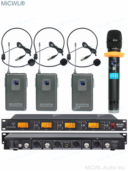 Original MiCWL G900 Wireless Microphone 3 Belt Pack 1 Handheld System for Stage Performance Karaoke 240 Channel Mics Microphones