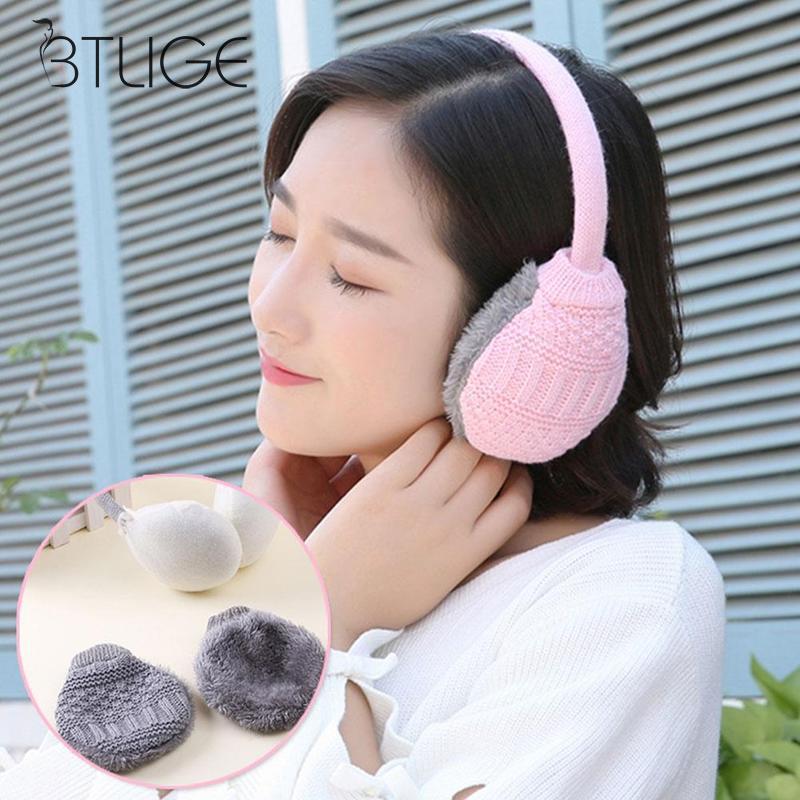 Women Winter Warm Ear Muffs Adjustable Removable Washable Unisex Men Women Plush Knitted Earmuffs