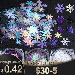 1 Box Holographic Xmas Snowflakes Nail Sequins Flakes 3D Nail Art Glitter Laser AB Silver Paillette Manicure Decorations SADX/XX