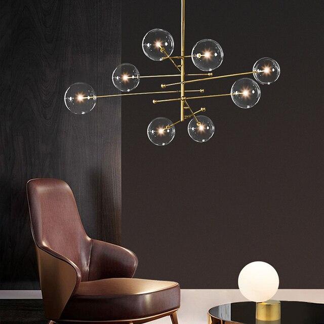 מודרני שעועית תליון תאורת נורדי זכוכית כדור תליית אור לסלון/חדר שינה/חדר אוכל מודרני מעצב אור מתקן