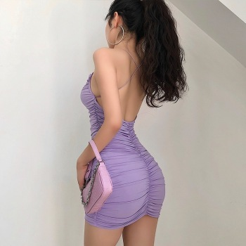Cross halter sexy bag hip dress summer stretch tight-fitting mini dress nightclub party dress design sense
