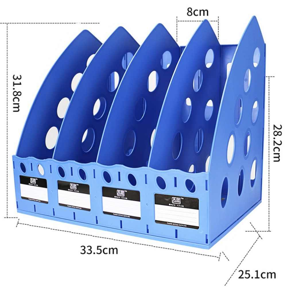 TIANSE TS-1306 Kunststoff Bücherregal 4 Abschnitt Teiler Datei Rack Papier halter Multifunktionale Home Office Desktop Lagerung hanger