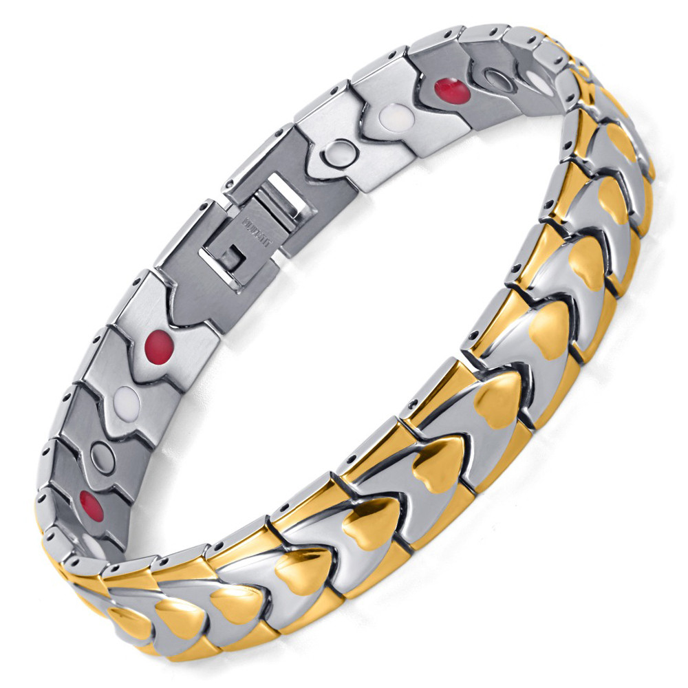 Hot Sale Fashion Jewelry Titanium Healing Bracelet With Magnets and FIR in IP Gold Plating Bracelets