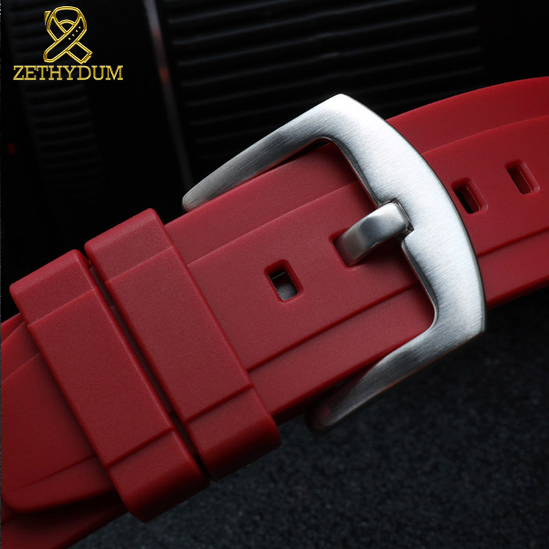 Image 4 - fluororubber watch strap Silicone Rubber bracelet quick release bar 22mm watchband for huawei watches other brands watch band-in Watchbands from Watches