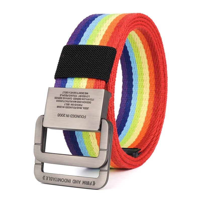 Cinturón de lona de nailon para hombres, cinturones tácticos del ejército, hombre, deporte al aire libre, doble hebilla, pantalones vaqueros de lona de nailon, cinturón, Color arcoíris, NS35