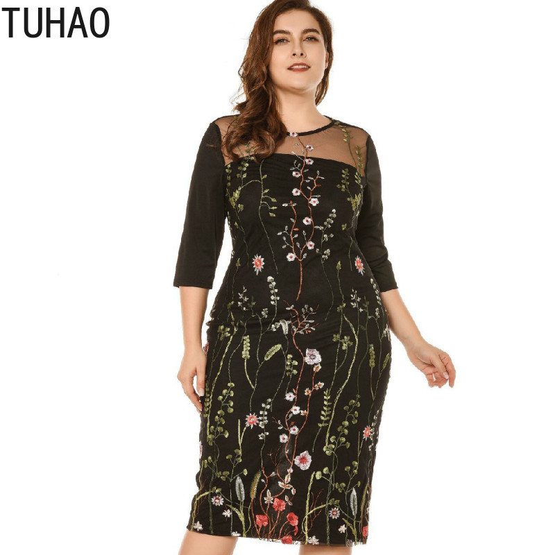 TUHAO Good Quality Plus Size <font><b>5XL</b></font> 4XL 3XL Women Night Club Party Dress <font><b>Sexy</b></font> Female Embroidery Mesh Black Elegant <font><b>Femme</b></font> Dress LZ17 image