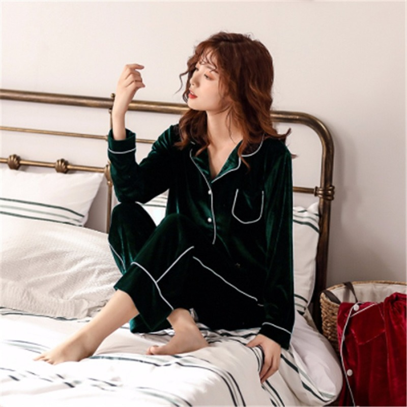 Gold Velvet Pajamas Sets For Women Winter Long Sleeve And Full Trousers Two Piece  Soft Comfortable Pyjama Sleepwear Homewear