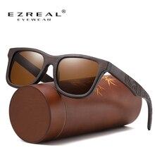 Ezreal手作りナチュラルブラウン木製サングラス女性男性ブランドデザインヴィンテージファッションメガネ偏光レンズドロップシッピング