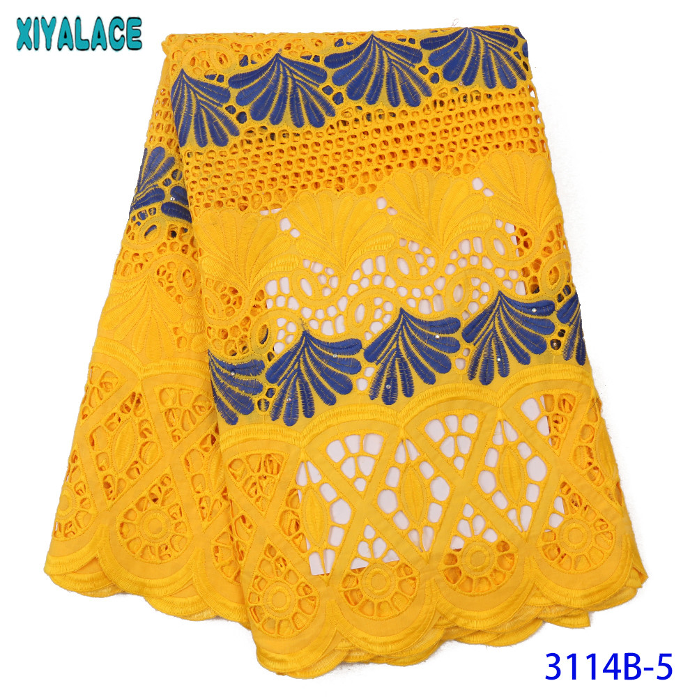 Swiss Voile Lace New Dry Lace High Quality Cotton Lace African Fabric Lace With Holes Mixed Colors For Women KS3114B