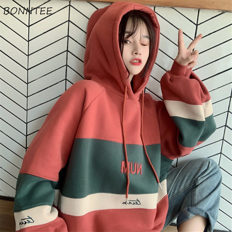 Hoodies Women Thicker Plus Velvet Students Simple Patchwork Hooded Korean Style Harajuku Womens High Quality Trendy Oversize New