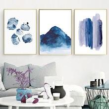 Настенная картина с акварелью в скандинавском стиле темно синий