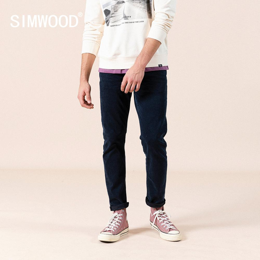 SIMWOOD 2020 Spring New Slim Taper Jeans Men Black Blue Denim Trousers Plus Size High Quality Jean Brand Clothing SJ110162