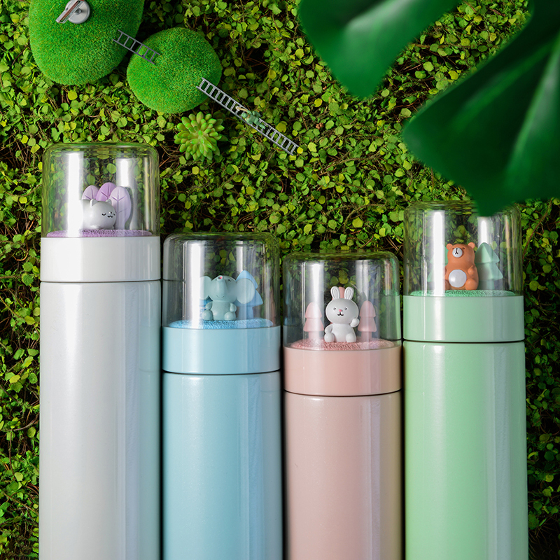 Micro Landscape Cute Thermos Flask Stainless Steel Water Bottle Insulation Women's Office Vacuum Flask Gift Couple Student Cup