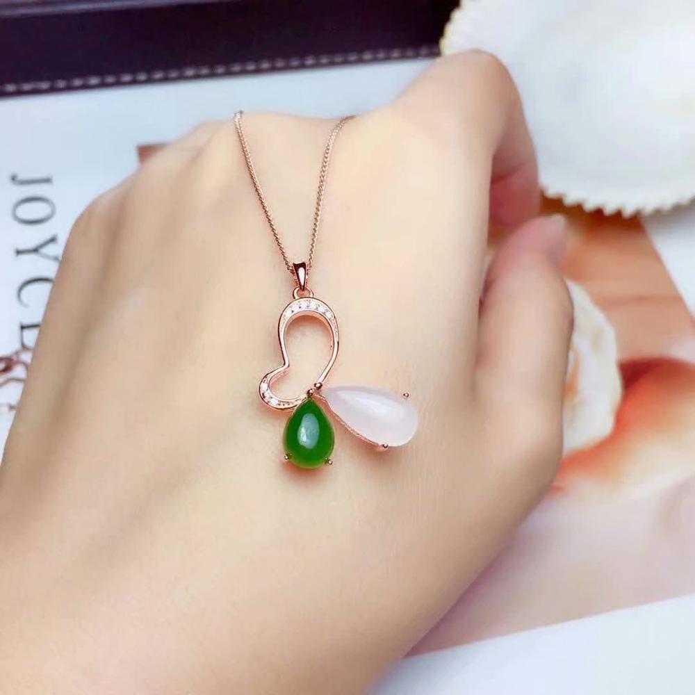 SHILOVEM 925 argent sterling naturel blanc Jasper pendentifs bijoux fins femmes mariage plante gros cadeau nouveau mz06080612agby