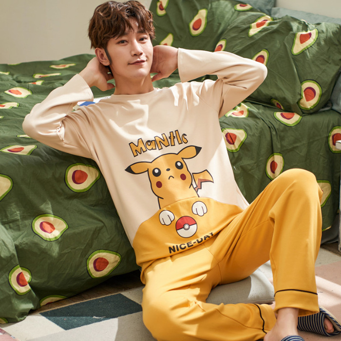 Spring And Autumn Men's 6535 Cotton Long Sleeve Trousers Korean-style Men Young And Middle-aged Thin Japanese Korean Home Wear T