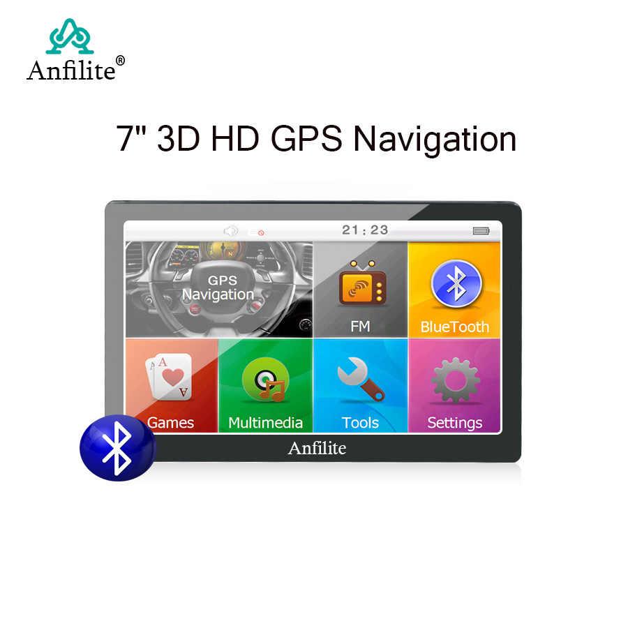 7 pouces HD camping voiture/camion/véhicule GPS Navigation construit en 8GB + 256M Bluetooth lecteurs MP3/MP4 MTK Sat Nav états-unis russie Europe m