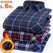 NIGRITY New Mens Long Sleeve Plaid Warm Thick Fleece Lining Shirt Fashion Soft Casual Flannel Shirt Comfortable Plus Size L 6XL