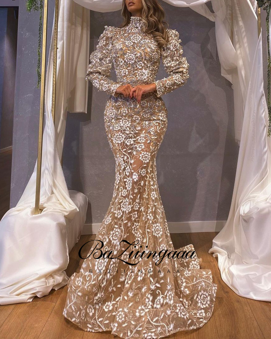 BAZIIINGAAA Luxury Woman Cocktail Dress Beaded Sequins Long Elegant Night Cocktail Party Formal Dresses for Wedding Plus Size