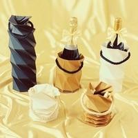 2020 new Christmas red wine bag kraft paper gift bag Christmas party gift bag high grade reusable folding wine bag