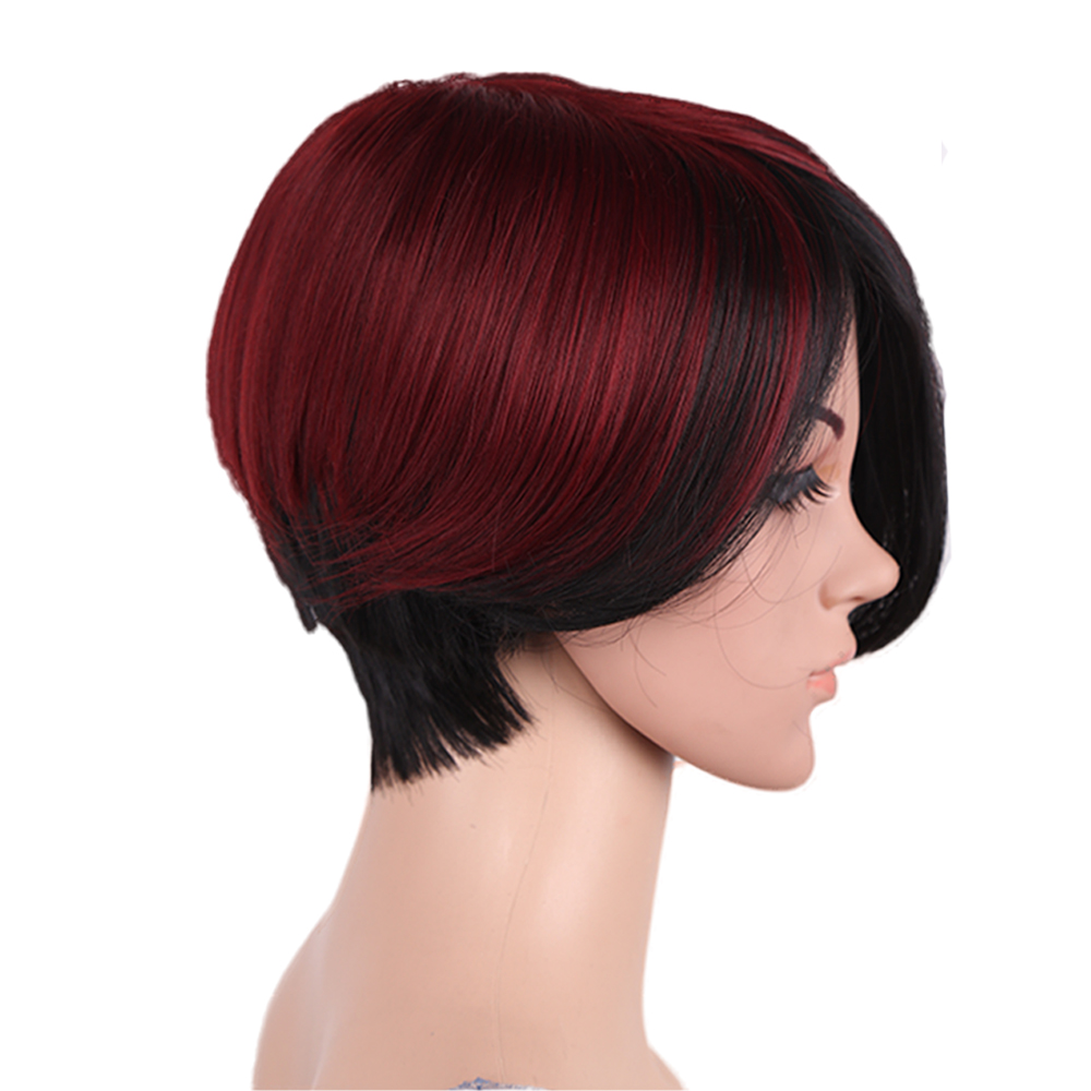 Amir Short bob wig Synthetic Hair Wigs For Women Ombre Black Mixed Red Wig Cosplay Fake Hair
