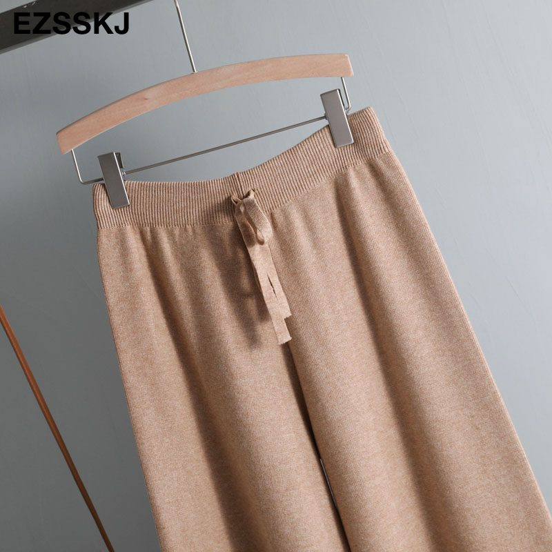 2019 autumn winter new THICK casual straight pants women female drawstring loose knitted wide leg pants casual Trousers 47