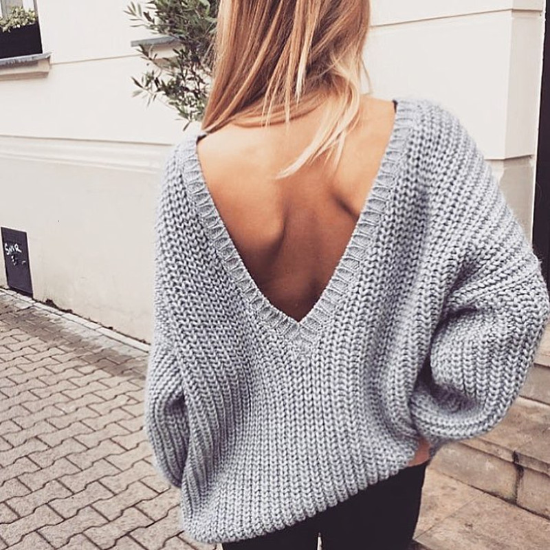 2019 New Sexy Backless V-neck Sweater Women Pullover Autumn Winter Casual Knitted Sweater Femme Tricot Pullover Jumpers