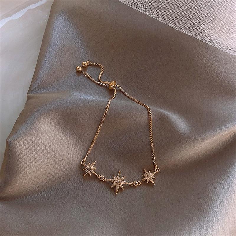 Роскошный модный браслет с кубическим цирконием, золотой счастливый браслет для женщин, восемь звезд, дизайн, блестящий браслет кафф с кристаллами, ювелирные изделия на кнопках|Цепочки и браслеты|   | АлиЭкспресс