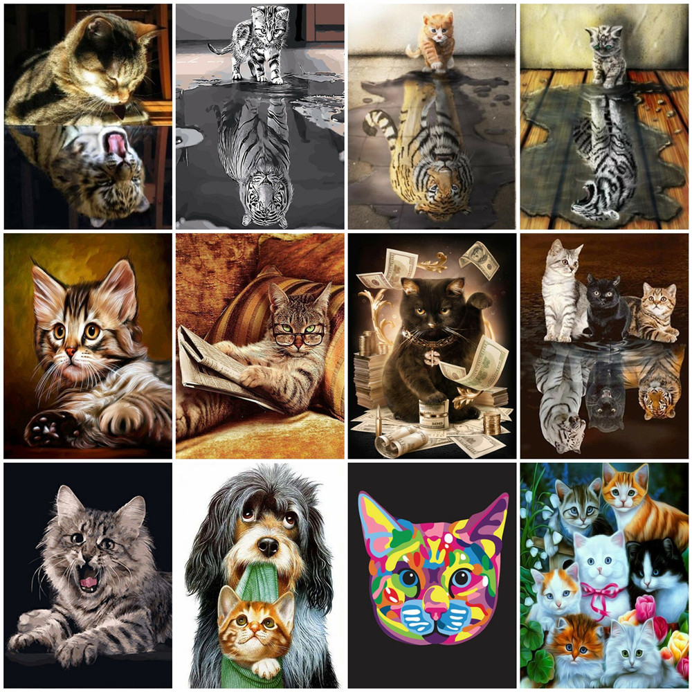 HUACAN Paint By Numbers Cat Drawing On Canvas HandPainted Art Gift DIY Coloring By Number Animal Tiger Kits Home Decoration