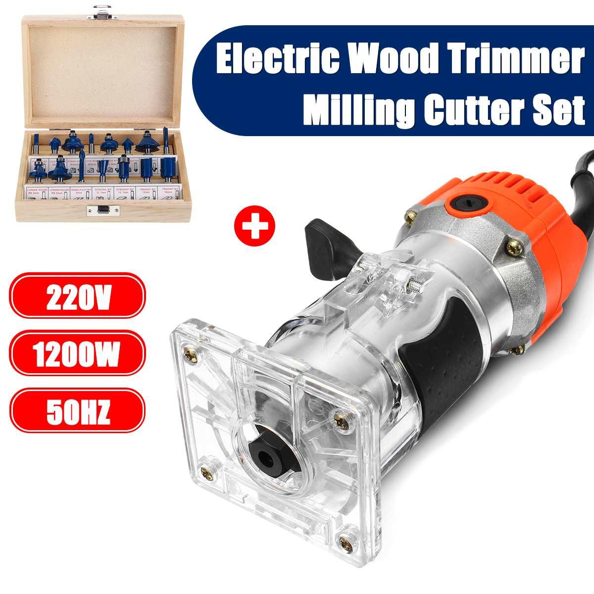 1200W 220V Elektrische Holz Trimmer Laminator 35000r/min Router Pvc-h-streifen Schreiner Werkzeug Set Aluminium + 15 stücke 6,35mm Collet Durchmesser Holz Router