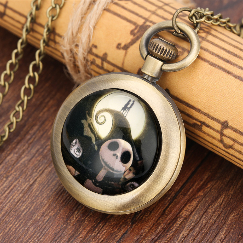 Exquisite Bronze The Nightmare Before Christmas Kids Quartz Pocket Watch Necklace Pendant Clock Gifts