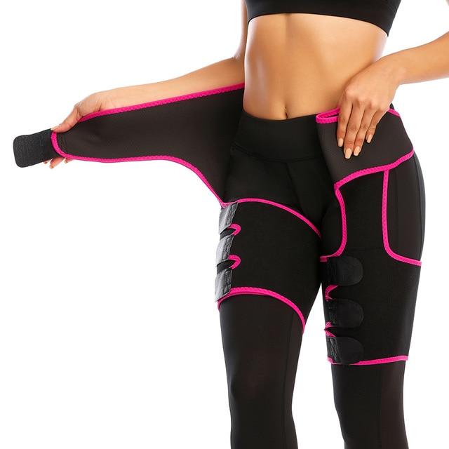 Women Low Waist Thigh Trimmer Neoprene Sweat Shapewear Slimming Leg 3 in 1 Waist Shapers Waist Trainer Workout Girdle Belt 2