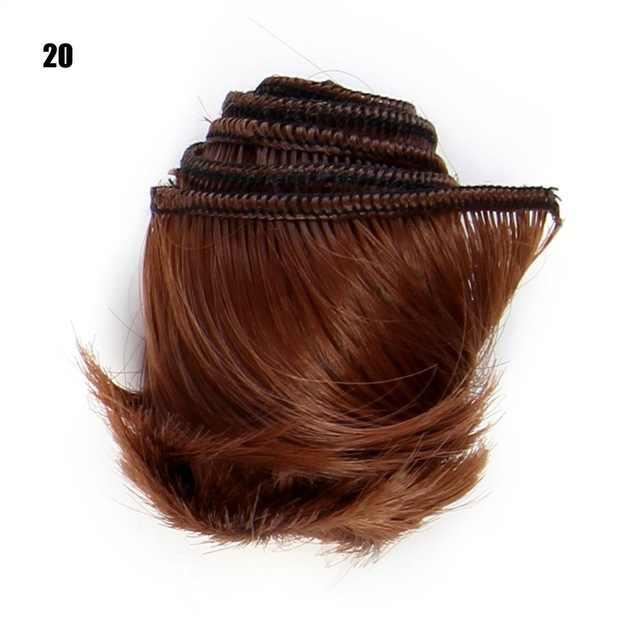 1 قطعة 5 سنتيمتر * 100 سنتيمتر قصيرة تجعيد الشعر ل 1/3 1/4 1/6 bjd دمية wigs بها بنفسك الباروكات الأحمر الوردي الأزرق الأخضر ضوء الذهب البني الوردي