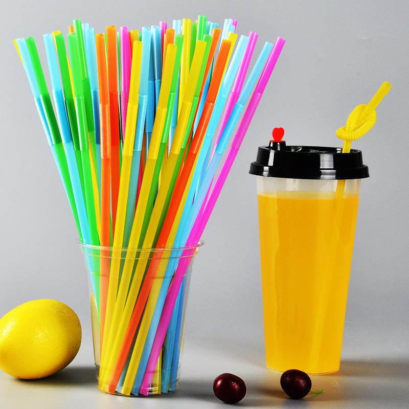 Personalized & Creative Modeling Artistic Straw A Long Elbow Fruit Juice Beverage Straw Color Retractable Plastic Straw