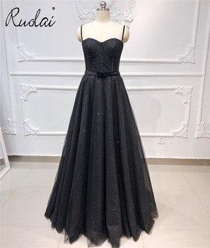Noir Simple luxe robes de soirée longue brillant Bow ceinture bretelles robe de bal 2020 robe de soirée femmes fête robes formelles