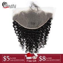 Красивые queen перуанские 10A 13x6 прозрачного кружева фронтальные глубокая волна предва швейцарское кружево девственные волосы для Для женщин