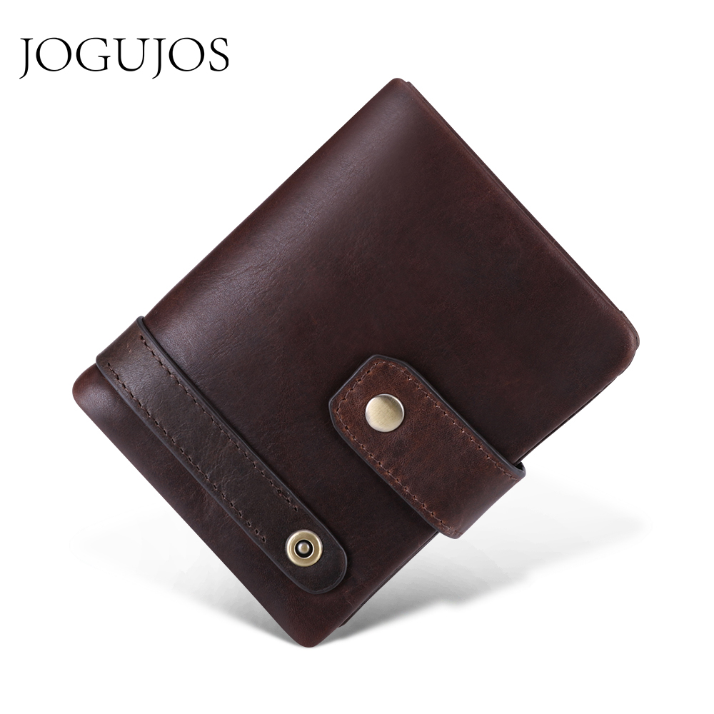 JOGUJOS New <font><b>Genuine</b></font> <font><b>Leather</b></font> <font><b>Men's</b></font> <font><b>Wallets</b></font> Vintage <font><b>Short</b></font> <font><b>Man</b></font> <font><b>Wallet</b></font> Cowhide Coin Purse Credit Card Holder Business Male <font><b>Wallet</b></font> image