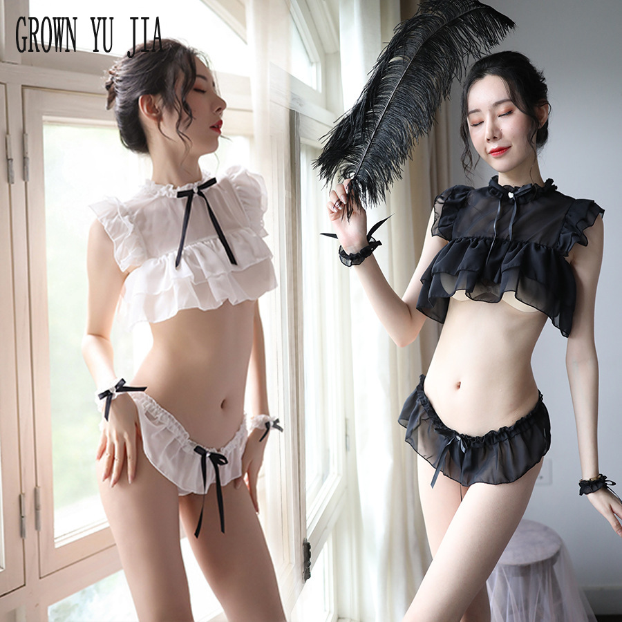 Sexy Women Uniform Temptation Perspective Cosplay Sex Costume  Porno Japanese Girls Erotic Maid Uniform Hot Naughty Lingerie Set