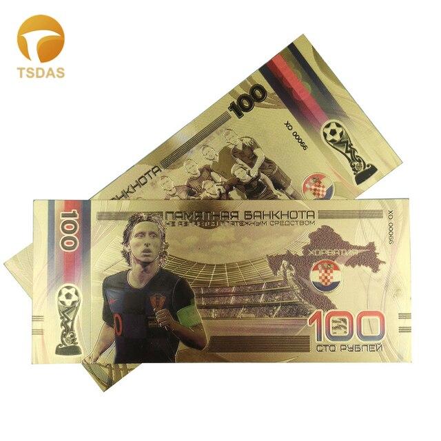 PET كامل الذهب الأوراق النقدية مع الأوراق النقدية الروسية الرياضة 100 روبل المال وهمية مطلية بالذهب كما مشجعي كرة القدم تذكارية الهدايا
