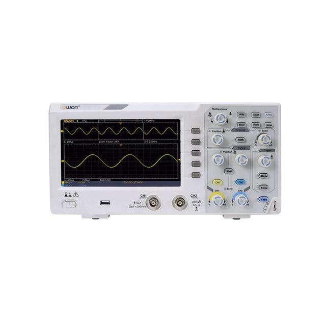 """업그레이드 Owon SDS1022 디지털 오실로스코프 2 채널 20Mhz 대역폭 7 """"휴대용 LCD 디스플레이 휴대용 USB 오실로스코프"""