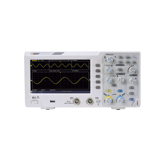 Upgrade Owon SDS1022 Digital Oscilloscope 2 Channels 20Mhz Bandwidth 7 Handheld LCD Display Portable USB Oscilloscopes