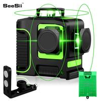 12 Lines 3D Laser Level Green Laser Line Self Leveling 360 Degree Horizontal & Vertical Cross Lines With Tripod Outdoor|Laser Levels| |  -